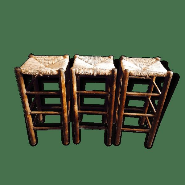 3 tabourets charlotte perriand paille bauche bois. Black Bedroom Furniture Sets. Home Design Ideas
