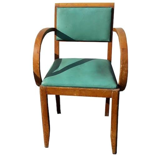 Paire de fauteuils bridge en hêtre et skaï vert