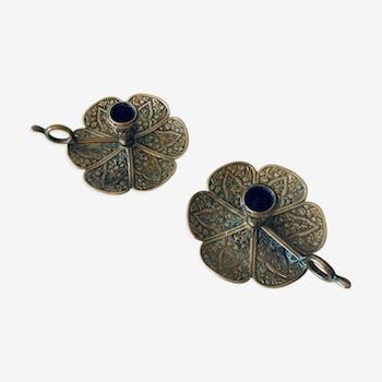 Pair of brass clover candlesticks