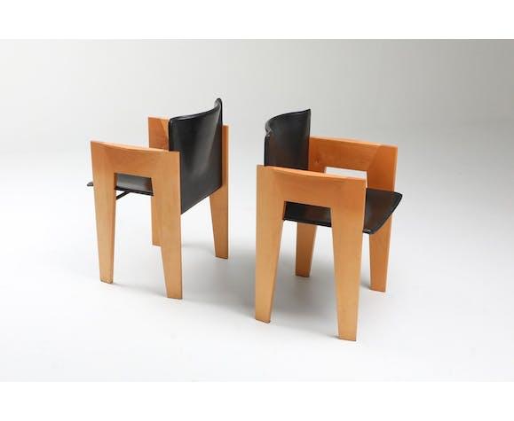 Sculptures post-modernes en cuir et bois par Arco - années 1980