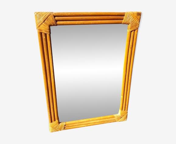 Miroir rectangulaire en rotin 56x41cm