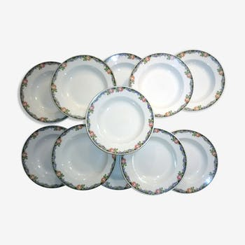Hollow plates serving floral porcelain Sarreguemines Digoin bordered gold fib