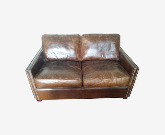 canap cuir vieilli boston cuir marron vintage l3a3x7n. Black Bedroom Furniture Sets. Home Design Ideas