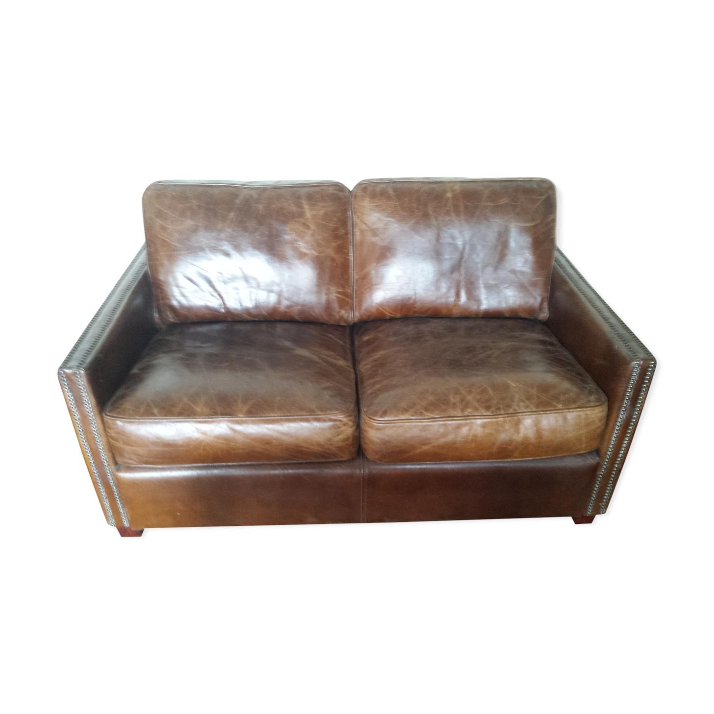 Canapé cuir vieilli Boston cuir marron vintage l3A3X7n