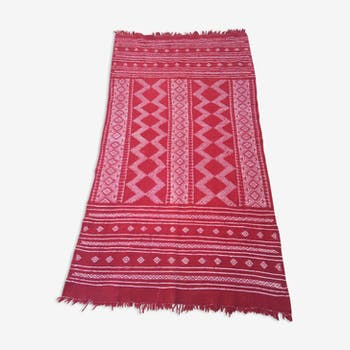 Kilim red and white in pure wool hand made 100 x 200cm