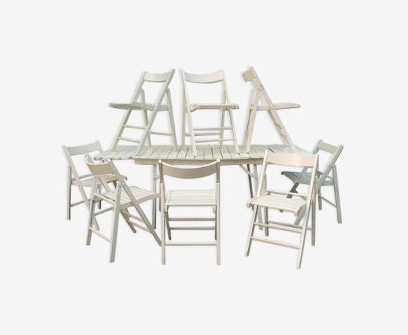 Salon de jardin en bois, table et huit chaises - bois ...