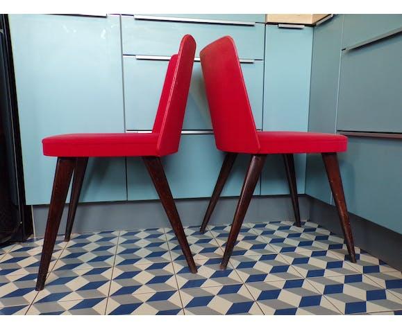 Paire de chaises cocktail en velours rouge