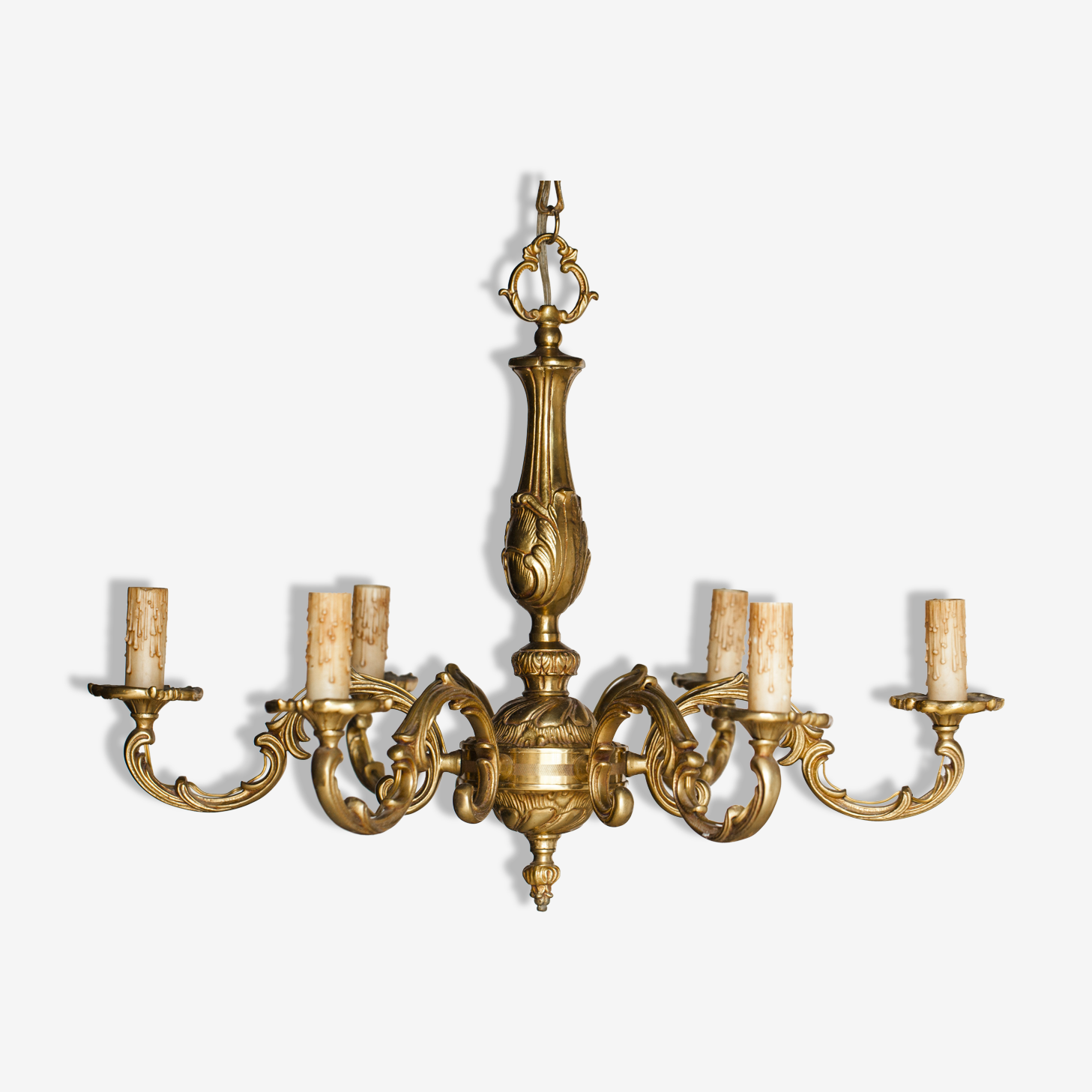 Lustre en Bronze à 6 bras de lumière