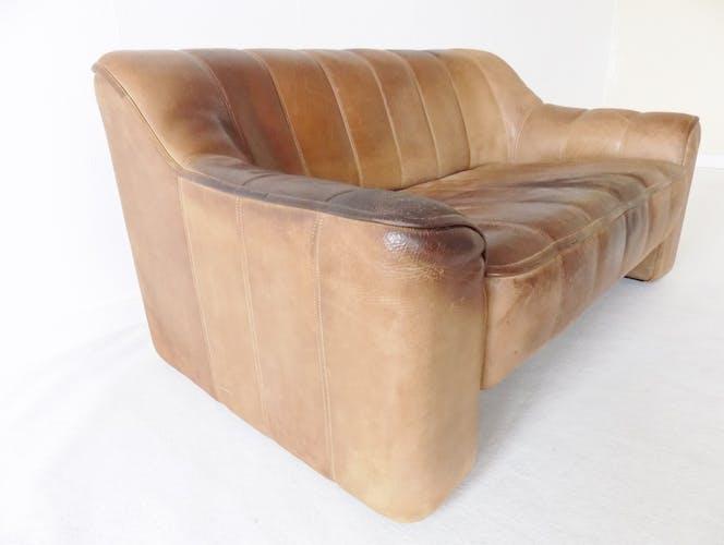 Canapé en cuir brun De Sede DS44 2 places