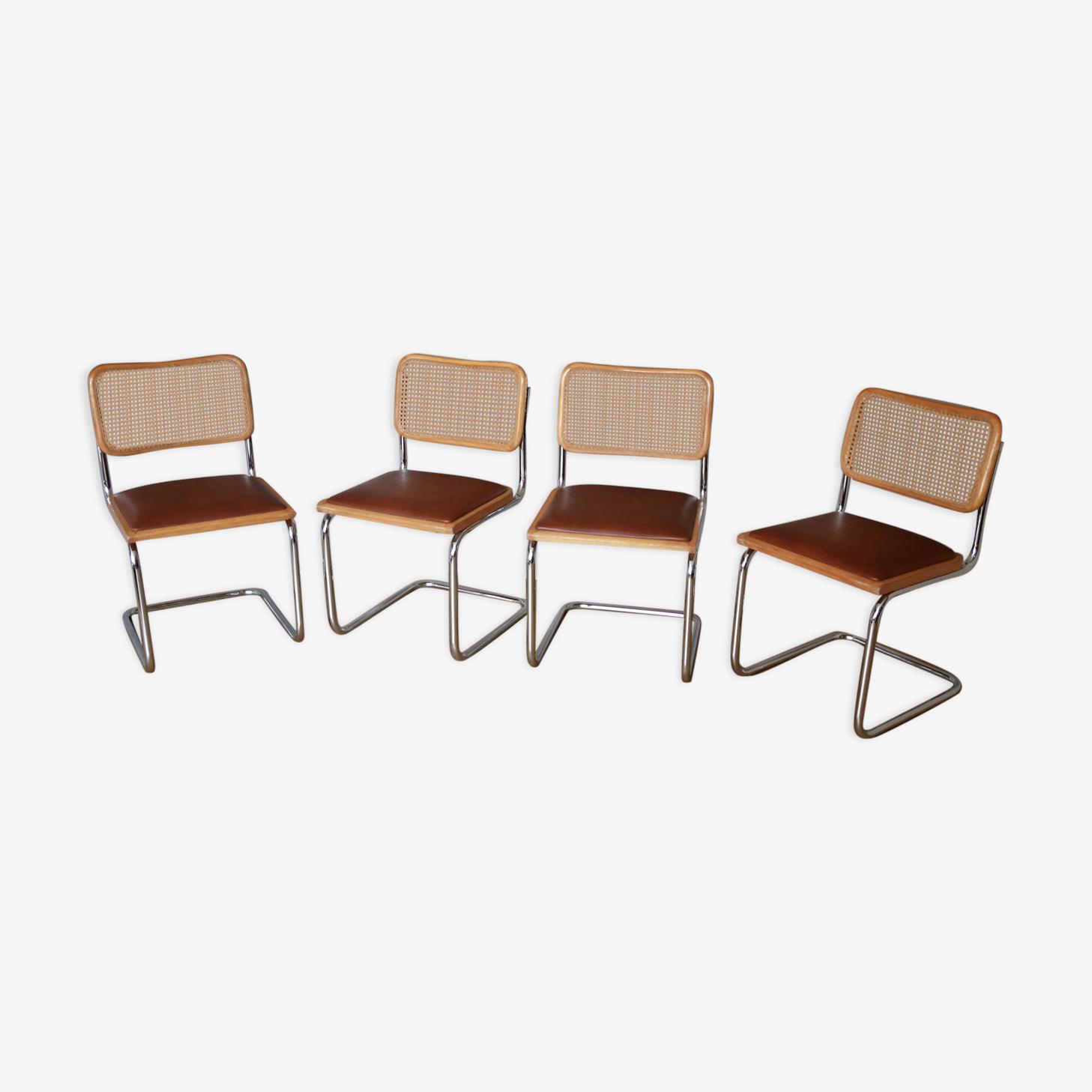 4 chaises Cesca B32 de Marcel Breuer années 70