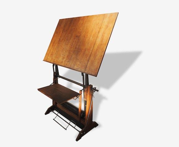 table dessin unic bois mat riau marron. Black Bedroom Furniture Sets. Home Design Ideas
