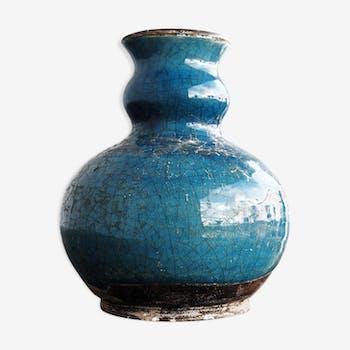 Pot en céramique vernissée et craquelée bleue