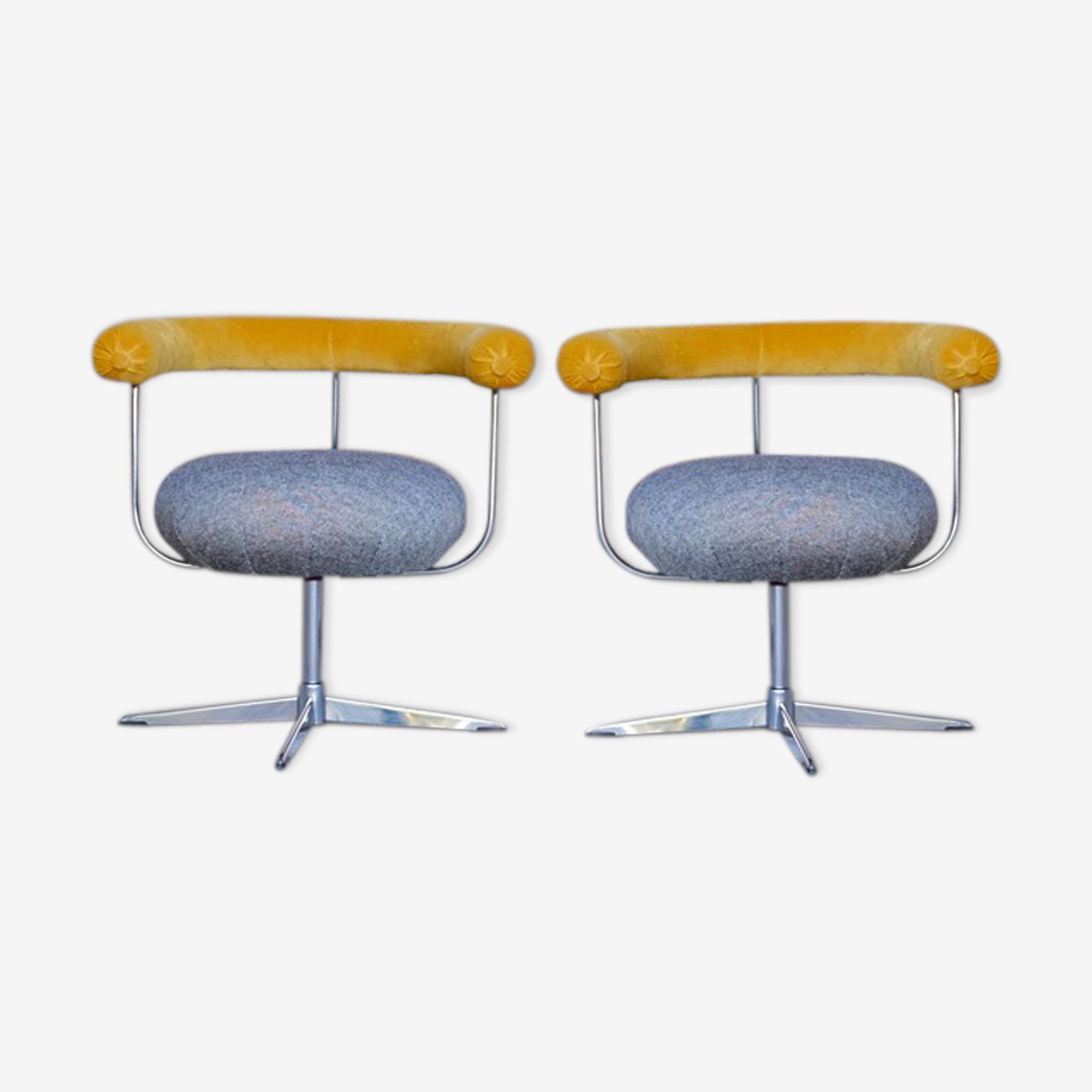 Paire de fauteuils rotatifs vintage en tissu velours