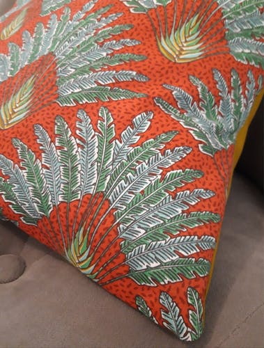 "Vintage pattern cushion ""Traveller's Tree"""