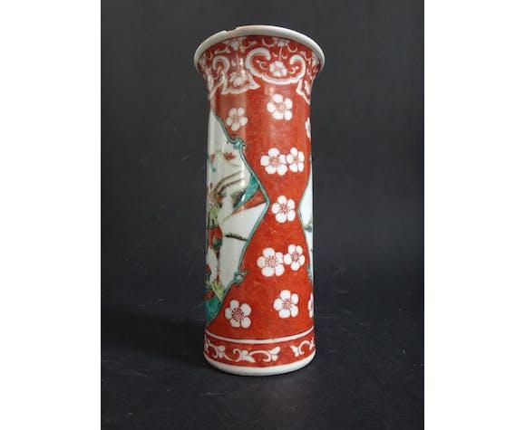 Ancien vase chinois cornet chinese Kangxi marque famille verte XIXe