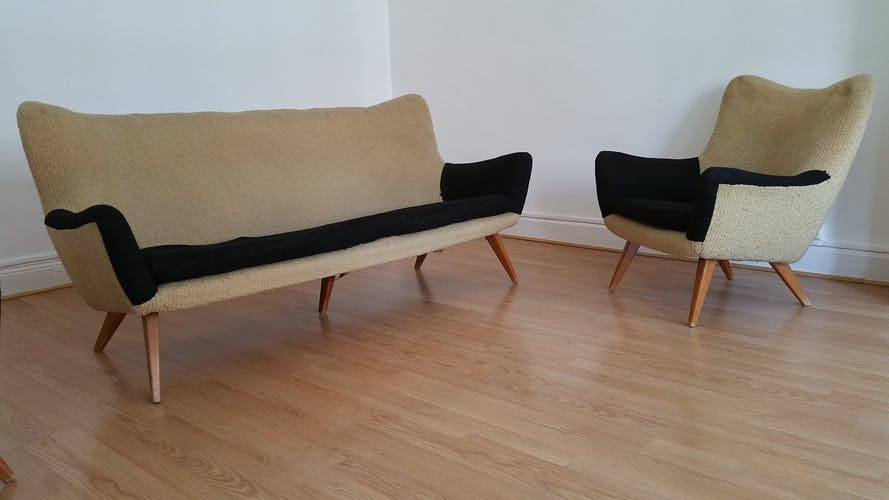 Sculptural 50s/60s design sofa
