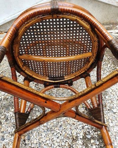 Chaise vintage en rotin et cannage