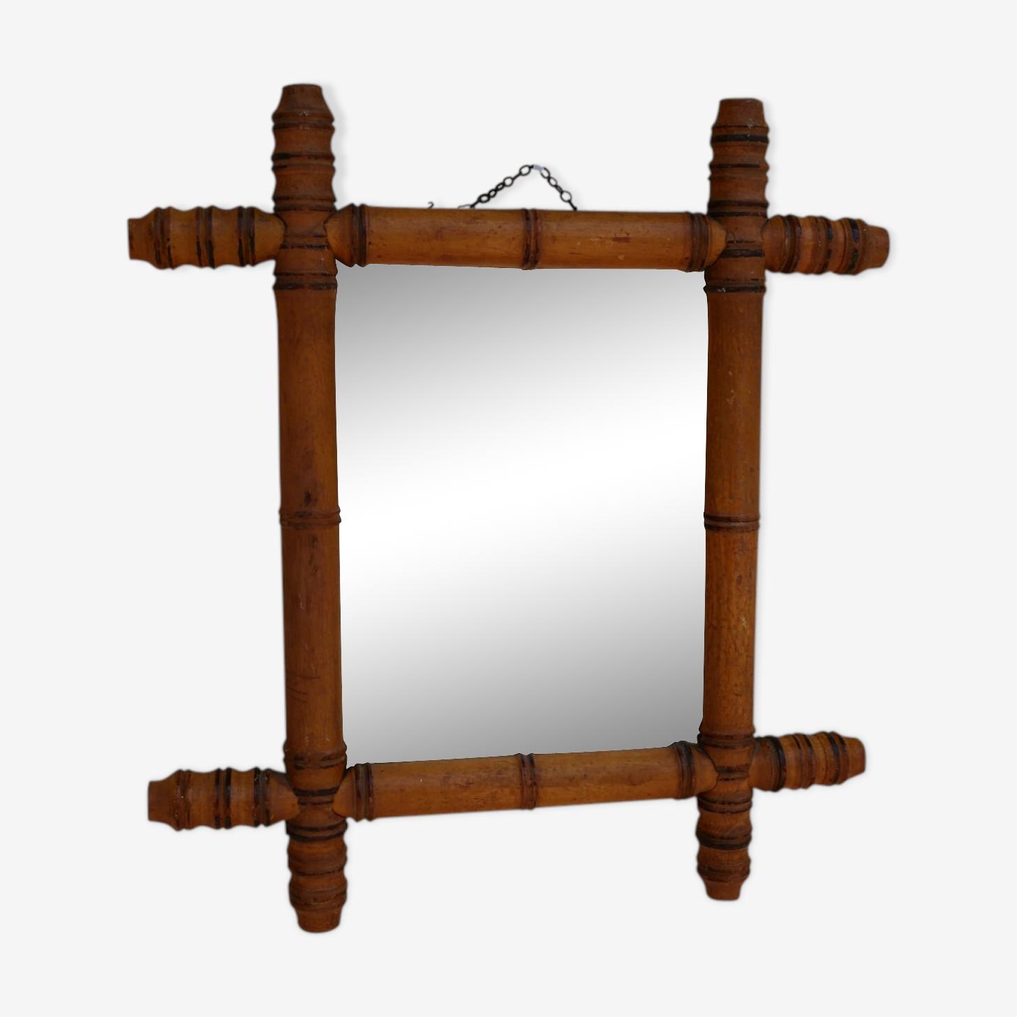 Miroir en bois façon Bambou, années 20 - 38x42cm