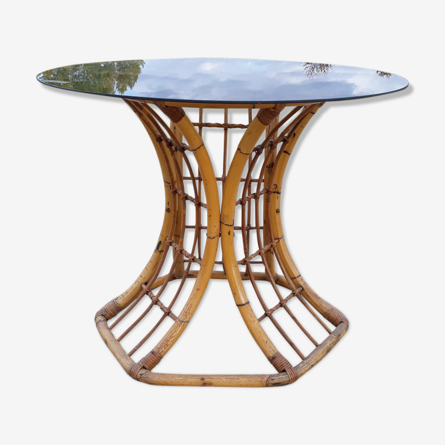 Round vintage rattan dining table