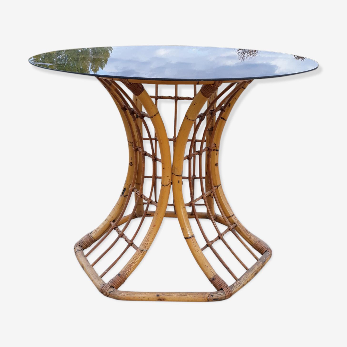 Table de salle à manger ronde en rotin vintage
