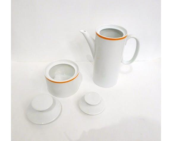 Cafetière & sucrier médaillon, porcelaine Thomas Rosenthal, 1970