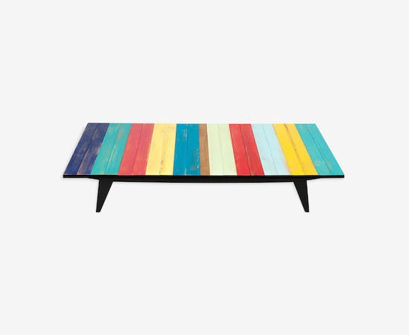 Coffee table in coloured wood blue, green, yellow, pink and red