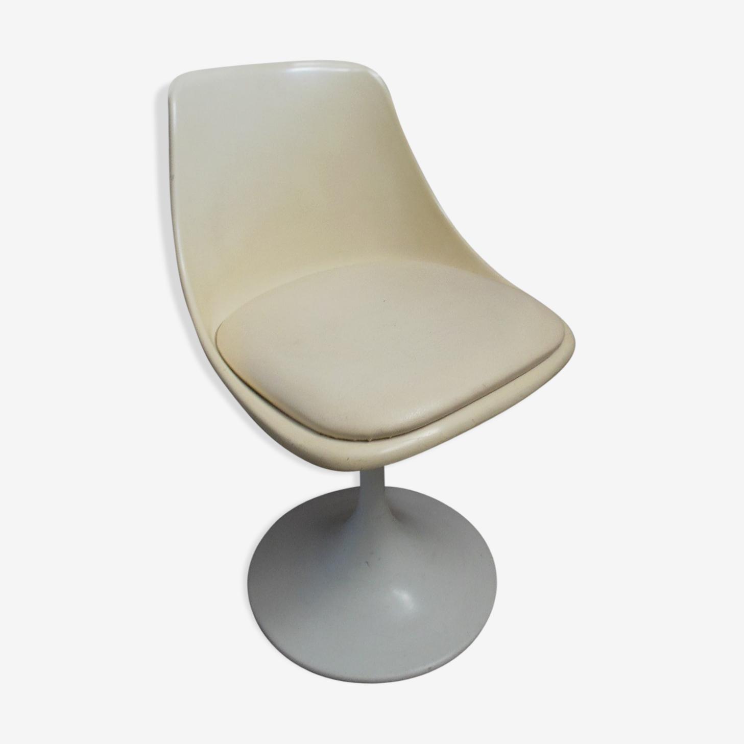 Chaise pied tulipe année 60 fonte blanc vintage AoSyinM