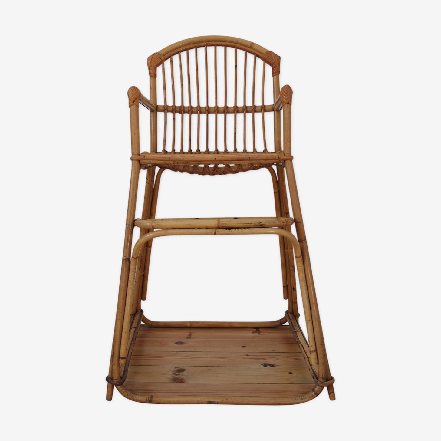 Chaise haute rotin