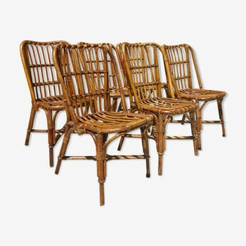 Suite of 6 vintage rattan chairs