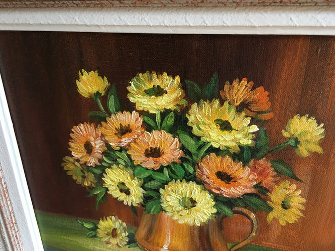 Painting bouquet of flowers by C Sargue