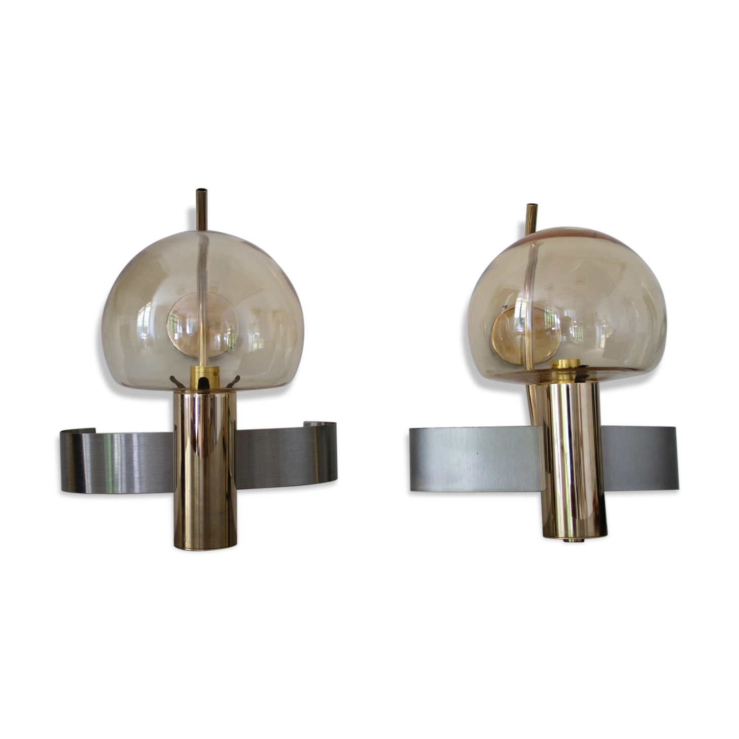 Paire d appliques en acier laiton murano verre et cristal