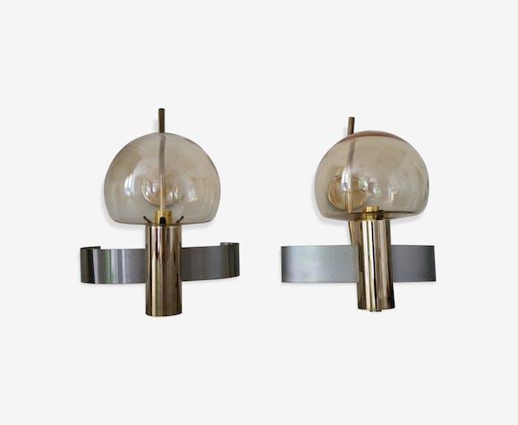 Paire dappliques en acier laiton murano verre et cristal
