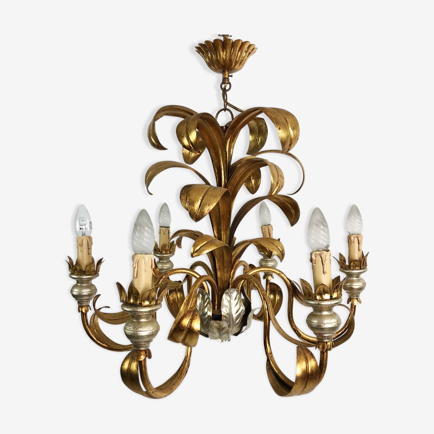 Lustre vintage des années 70 en métal doré à 6 bras de lumières