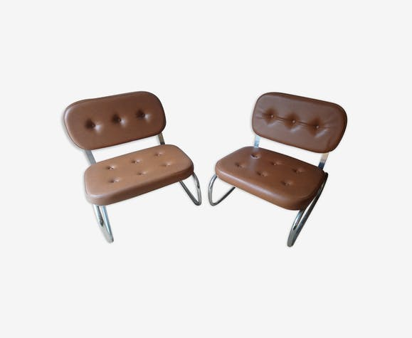 Pair of chrome and brown skai tubular low armchairs from the 70's