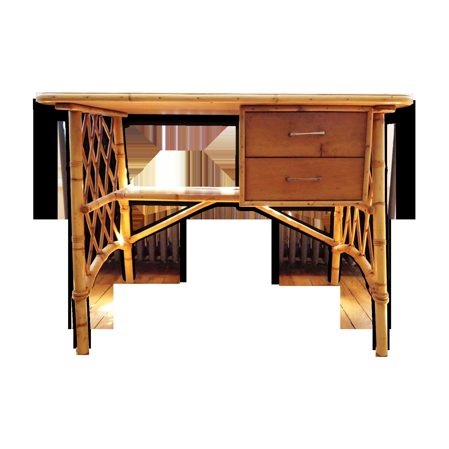 Bureau en rotin avec tiroirs rotin et osier bois couleur