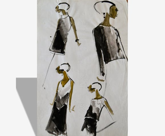 Lot de dessins de mode haute-couture - authentiques vintages
