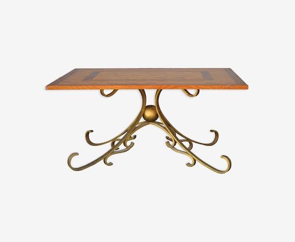 table basse bois et fer forg dor style 1940