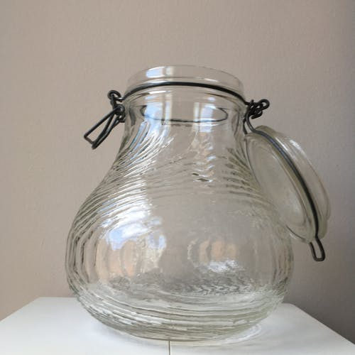 Canister with lid glass thick and worked