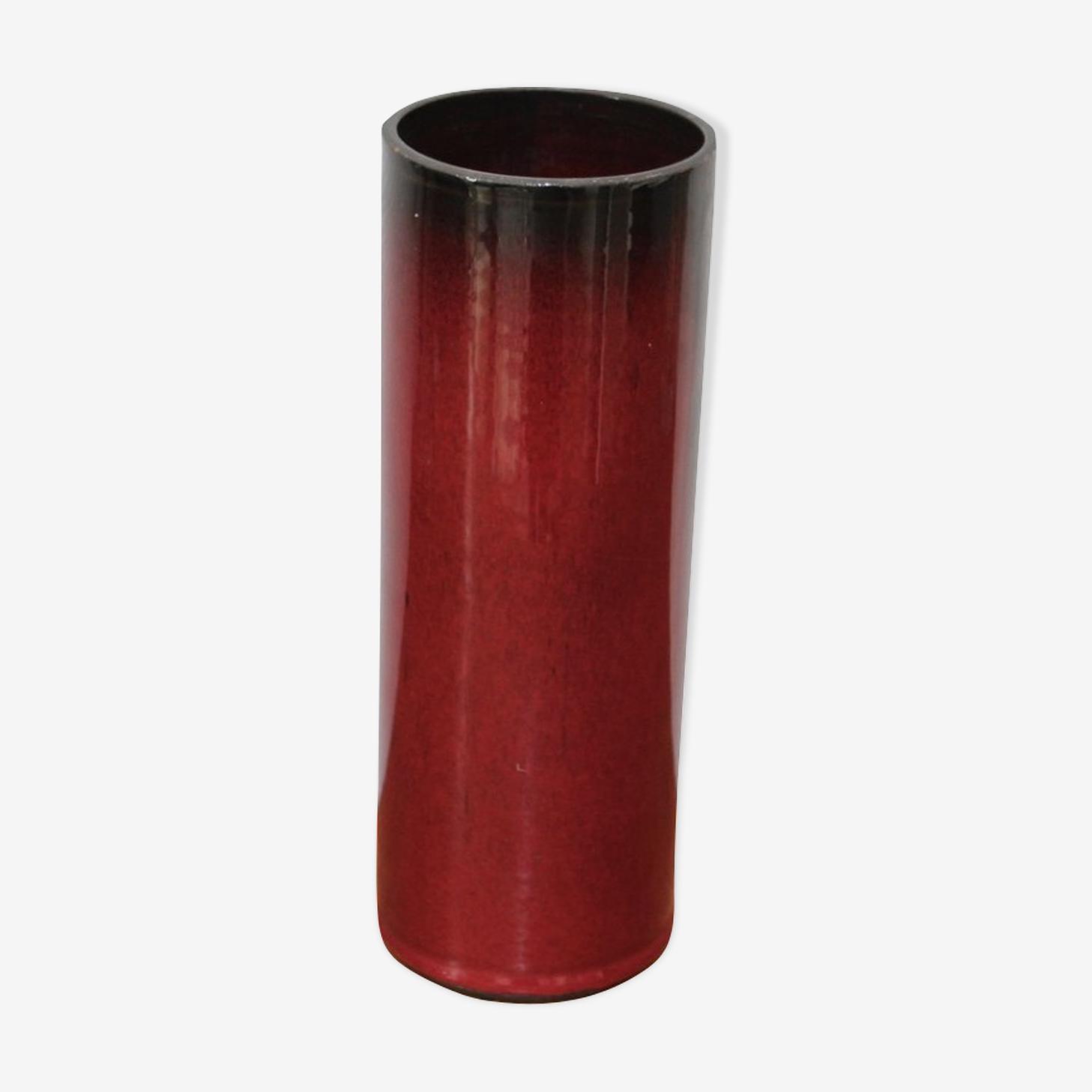 Vase rouge en céramique 1950