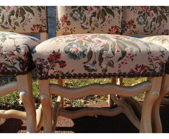 Lot de 6 chaises style Louis XIV en os de mouton