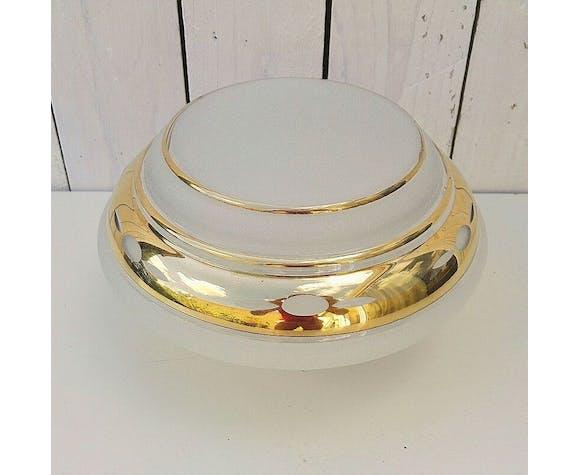 Globe en verre blanc granité, vintage, année 50