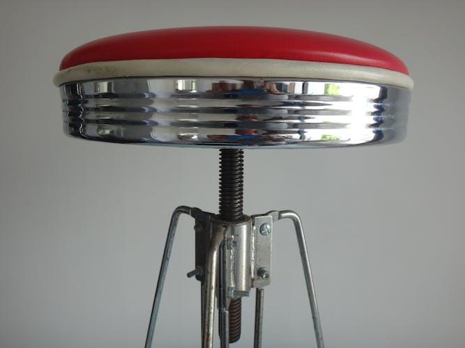 Tabouret de bar américain 1980 cuir rouge tripode