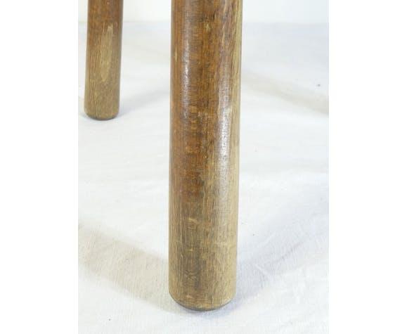 Tabouret tripode de traite en bois des annees 50