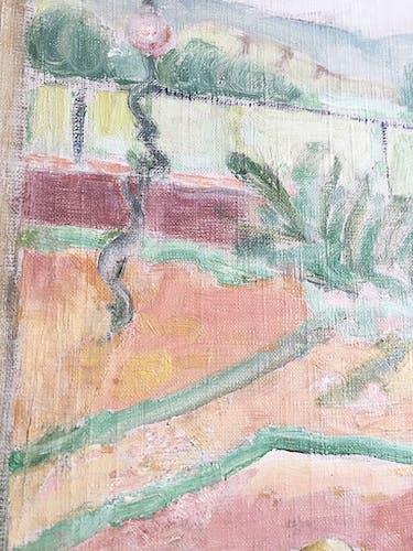 Huile sur toile encadrée «jardin»