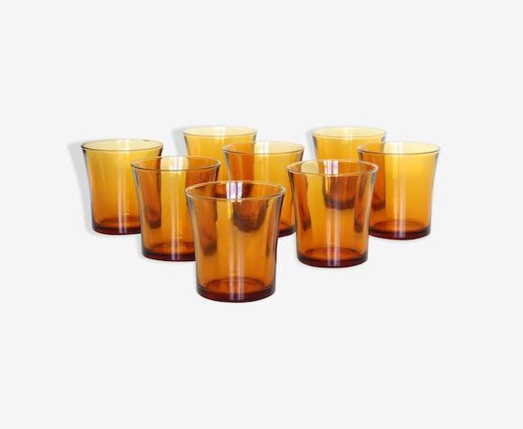 Set of 6 amber glasses