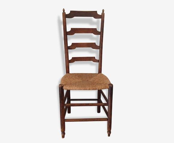 Ancienne Chaise Bois Et Paille