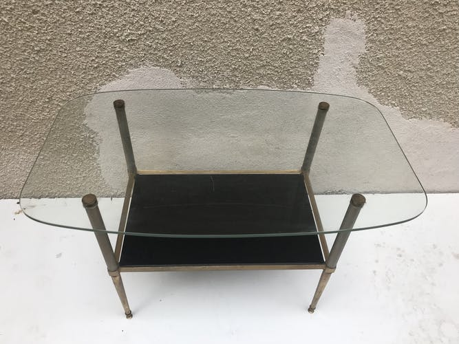 Table basse ancienne bronze doré colonne & pieds compas + plateaux verre vintage
