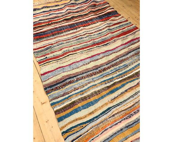 Moroccan Berber carpet Kilim Boucherouite 2.52x1.27m