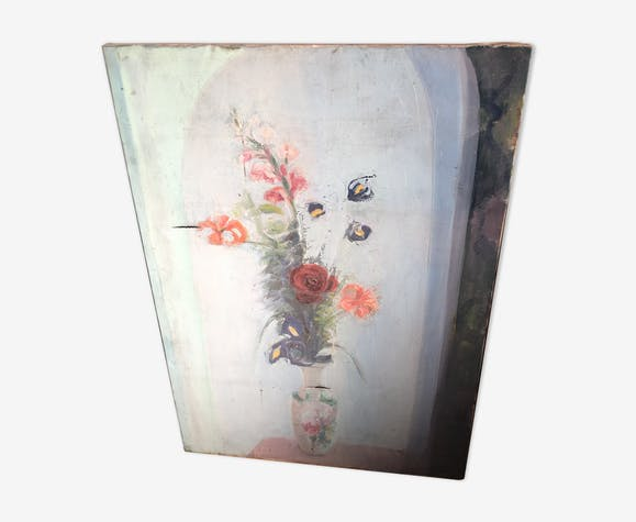 Tableau ancien vase de fleurs