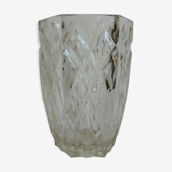 Vase en verre taillé fabrication française vintage